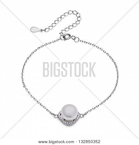 Close-up Of Silver Bracelet With Diamonds And Pearl