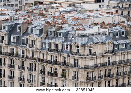 paris roofs and cityview landscape chimney detail