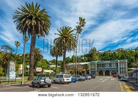 Napier New Zealand - November 19 2014: People walking around Clive Square East - Napier Hawkes Bay North Island New Zealand. Clive Square was included in the original town plan mapped out in 1854.