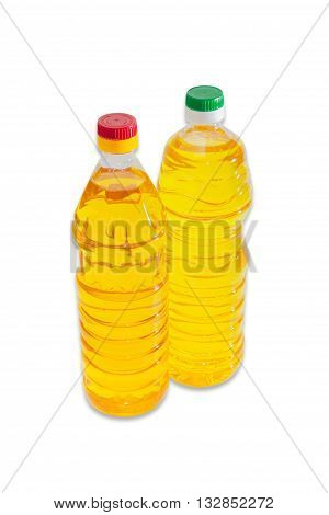 Bottle of unrefined sunflower oil and bottle of refined sunflower oil on a light background. Isolation.