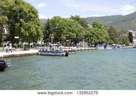 OHRID MACEDONIA. 03 JUNE 2016- View of a Lake Ohrid and city of Ohrid in Macedonia in beginig of june