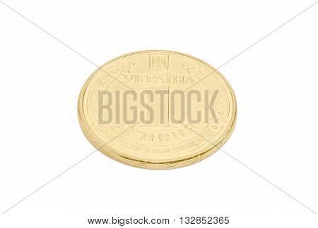 Obverse of coin denomination one Ukrainian hryvnia on a light background closeup