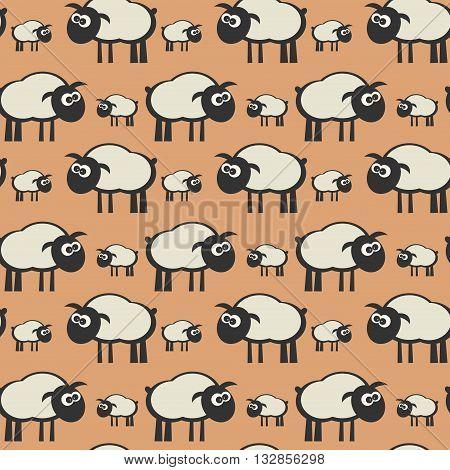 Seamless color pattern lamb theme, vector illustration