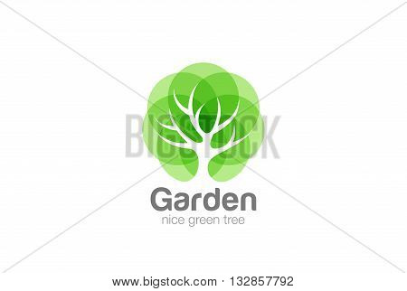 Tree Logo abstract design vector Negative space Eco Green Oak