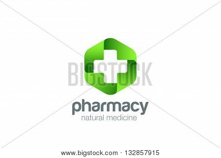Pharmacy Logo Medicine green cross vector. Eco Medical clinic