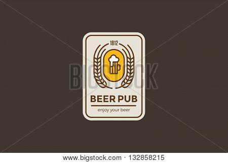 Beer mug Logo design vector Linear. Bar Pub Retro Vintage Label