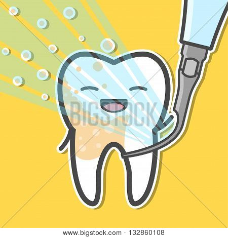 Ultrasonic scaler and tooth. Tartar removal concept. Dental vector illustration
