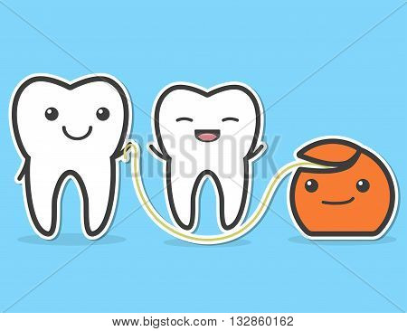 Teeth and dental floss. Floss is friend of teeth. concept. Vector illustration