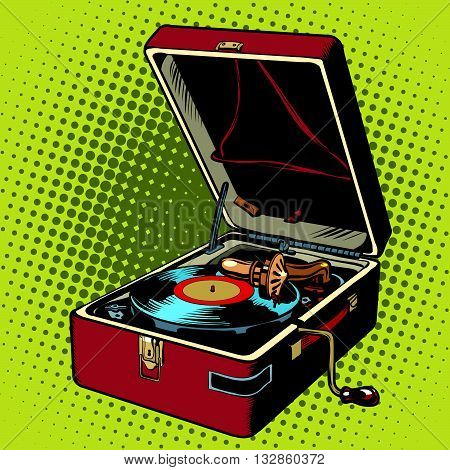 Phonograph vinyl record player pop art retro vector. Music audio hit. Retro audio equipment