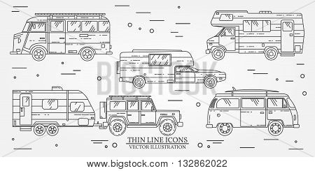 Set Of Tourist Bus, Suv, Trailer, Jeep, Rv Camper Trailer, Traveler Truck.  Summer Trip Family Trave