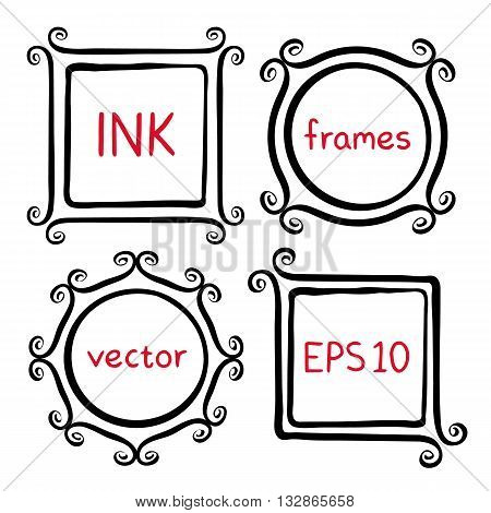 Cute hand made frames set painted with ink brush. Frames with whimsical swashes. Hand drawn doodle picture frames. Elements for baby shower, wedding invitations, scrapbook. Doodle vector illustration