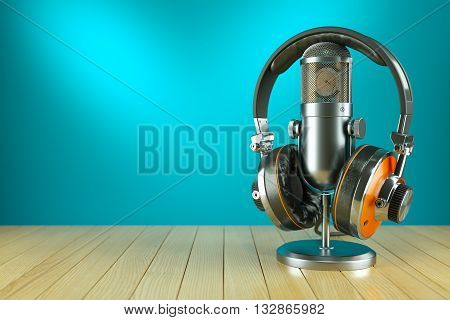 Professional Studio Microphone And Headphones On Wooden Table 3D