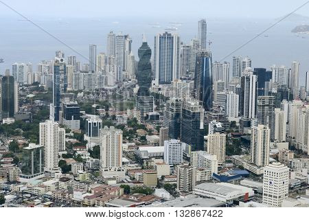Aerial view of Panama City, Panama, Central America
