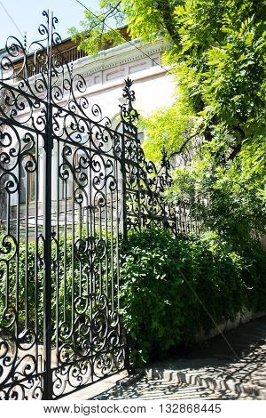 New wrought iron gates and the green trees and bushes