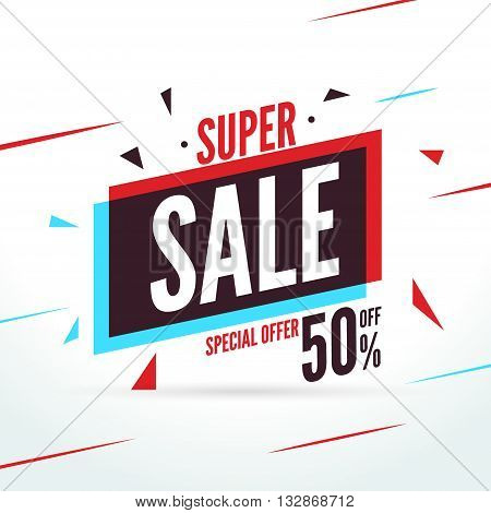 Super Sale special offer. 50 off discount baner. Vector promotion market banner for Sale.