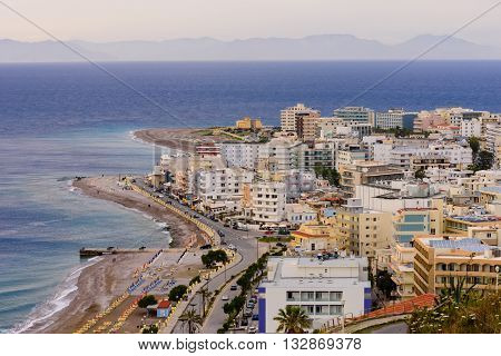 Rhodes island, Greece - May 21, 2016: Monte Smith hill view in May 21, 2016, Rhodes island, Dodecanese, Greece.