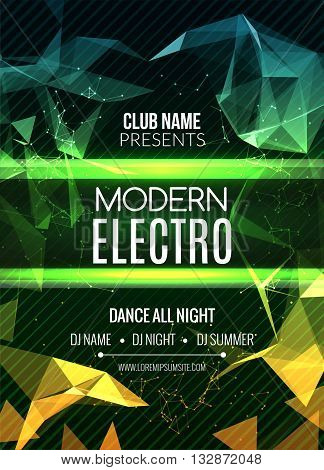 Modern Electro Music Party Template, Dance Party Flyer, brochure. Night Party Club Banner Poster