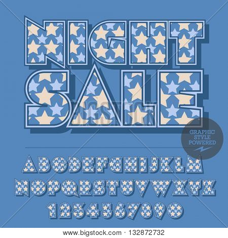 Nice star set of alphabet letters, numbers and punctuation symbols. Vector logotype with text Night sale