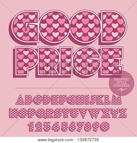 Pink lovely heart set of alphabet letters, numbers and punctuation symbols. Vector banner with text Good price