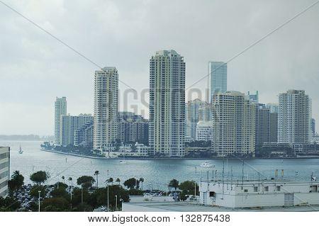 City by the sea. Miami, Florida, USA downtown skyline.