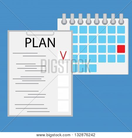 Planning day work flat. Business work every day schedule. Plan day illustration vector