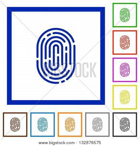 Set of color square framed fingerprint flat icons