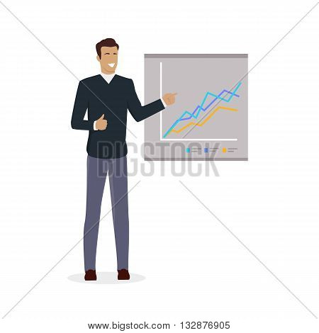 Training staff briefing presentation. Staff meeting, staffing and corporate business training, employee training, mentor business seminar meeting vector. Man near board with carts and graphs
