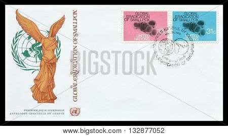 UNITED NATIONS - CIRCA 1979 : First day cover letter printed by United nations, that promotes eradication of smallpox.