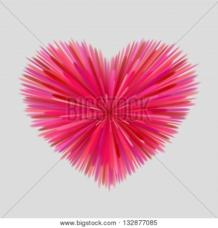 Heart-shaped firework of red pink and maroon beams at gray background. Bright love concept