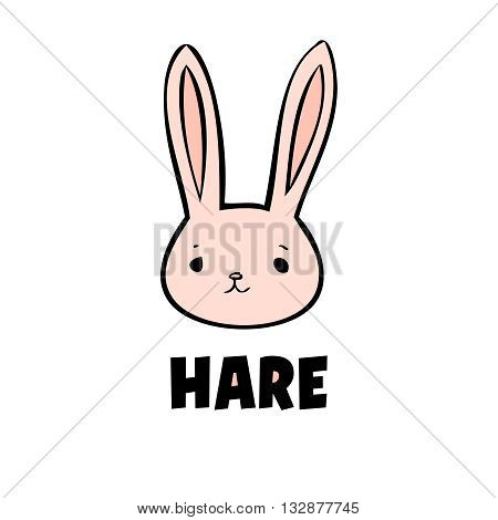 Vector pink hare icon little rabbit logo on white background. Cute anime hare. Pink head animal.