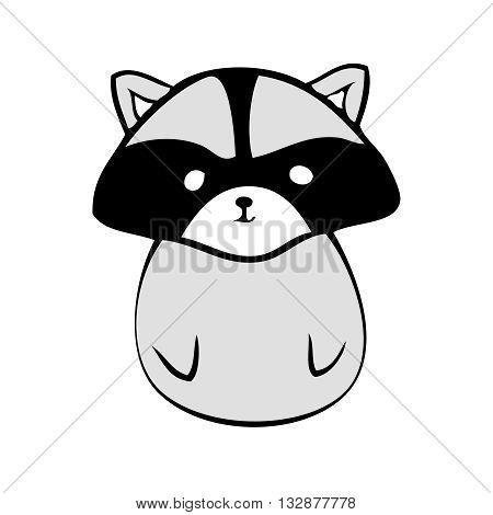 Vector raccoon icon little raccoon logo on white background. Cute anime raccoon. Coon animal.