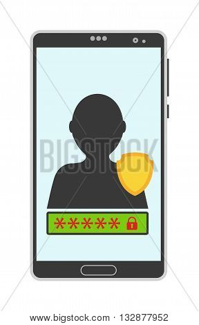 Account screen vector illustration. Smartphone screen isolated on white background. Password screen protection vector icon . Account screen flat style silhouette