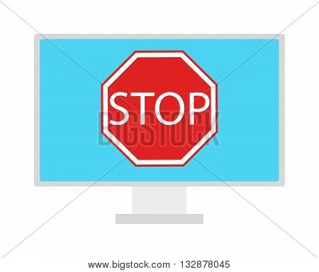 Content control flat illustration of security content. Lock Stop symbol on computer screen. Stop sign content control vector. Child content control. Stop internet traffic
