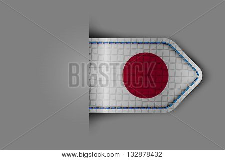 Flag of Japan in the form of a glossy textured label or bookmark. Vector illustration.