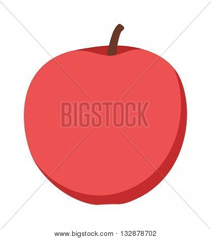 Fresh red apple on white background and red apple vector icon. Red apple organic, freshness and fresh healthy red apple fruit. Apple nutritious ecology organic eat diet natural dessert color fruit.