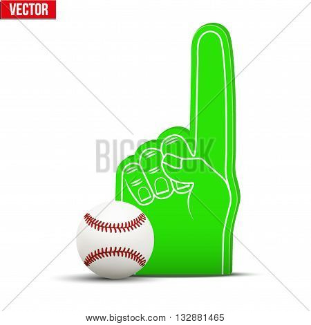 Symbol of Baseball Sports Fan Foam Fingers and ball. Vector Illustration Isolated on white background.