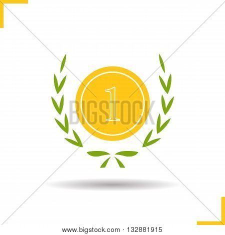 Gold medal icon. Drop shadow 1st place award silhouette symbol. Sport competitions winner medal in laurel wraith. Vector isolated illustration