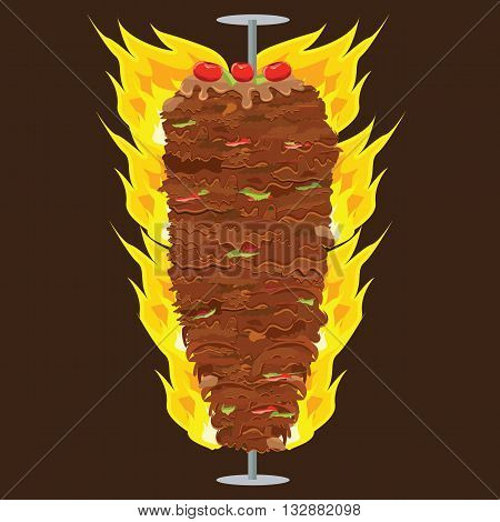 Vector illustration of Doner Kebab on pole grilling with fat pepper tomatoes on top of it. Doner Kebap with solid and flat color design