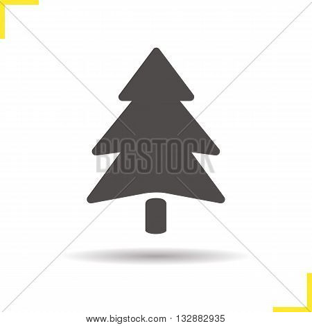 Fir tree icon. Drop shadow pine tree silhouette symbol. Spruce tree icon. Coniferous tree. Forest icon. Fir tree logo concept. Isolated vector illustration