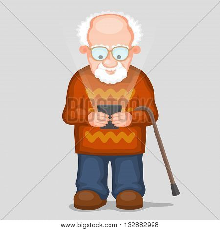 Elderly man is looking to screen of modern smartphone and smiling. Glow is from screen of phone. Old people and new technology concept
