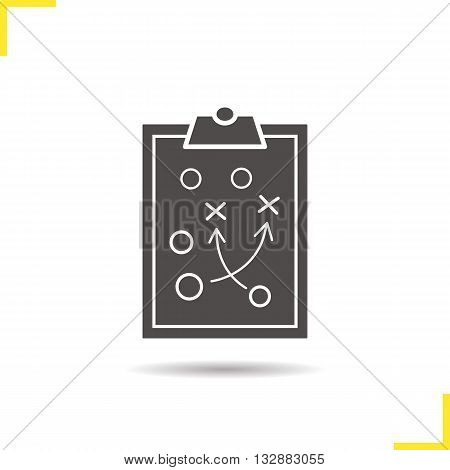 Game plan icon. Drop shadow tactics clip board silhouette symbol. Sport game strategy plan. Game plan logo concept. Vector sport scheme isolated illustration