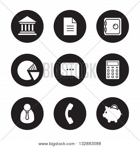 Banking black icons set. Bank symbols. Graph, chat and calculator. Bank manager, receiver and piggybank. Deposit box, agreement and bank building. White illustrations. Vector finance logo concepts