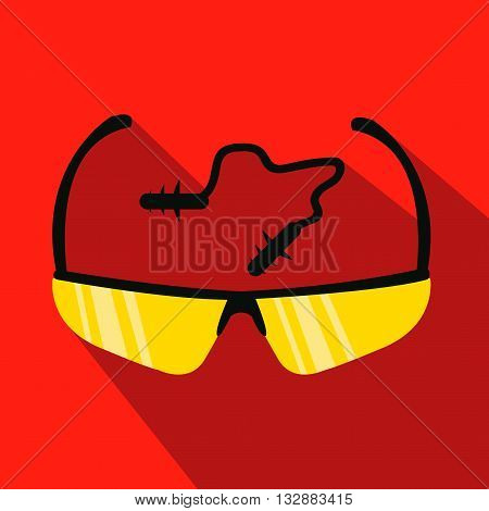 Glasses and in ear protect. Hunting season. Flat and cartoon style. Vector illustration.
