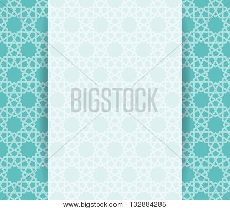Islamic pattern. Greeting ramadan flyer in islamic design. Vector invitation background in islamic style