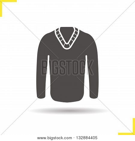 Pullover icon. Drop shadow sweater silhouette symbol. Men's seasonal warm modern clothes. Pullover logo concept. Vector jumper isolated illustration