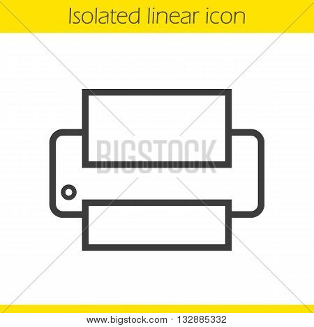Printer linear icon. Modern office print equipment thin line illustration. Printer contour symbol. Vector isolated outline drawing