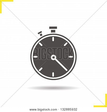 Stopwatch icon. Isolated stopwatch vector illustration. Drop shadow timer icon. Sport competitions time measurement tool. Stopwatch logo concept. Vector timer. Silhouette stopwatch symbol