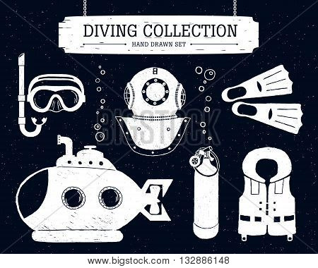 Hand drawn diving collection of elements on black background. Scuba mask helmet oxygen cyllinder life jacket bathyscaphe and fins.