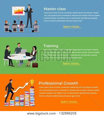 Master class and training set of banner flat design. Business presentation and training, master manager lecture or report, management and communication for company conference, vector illustration
