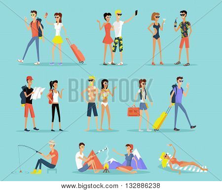 People vacation set man and woman flat design style. People on vacation couple man and woman. Sunbathing on a lounger, sitting around a campfire, fishing and mountain walks. Vector illustration